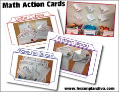 Math Action Cards - How to purposely use math manipulatives every day