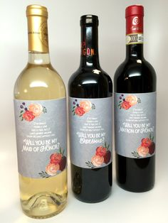 """Gray & Marsala """"Be My Bridesmaid"""" Gift Label- Wine Bottles & Candles"""