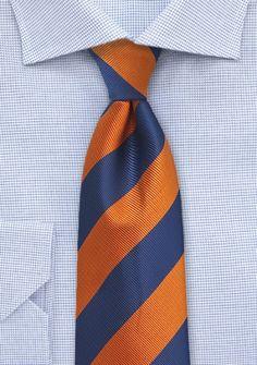 Herrenkrawatte Streifendessin kupfer-orange ultramarinblau