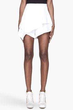 GIVENCHY White Assymetrical Cady hybrid shorts