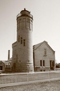 Lighthouse and Keeper's House - Mackinac Point, Michigan.
