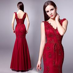 Formal Evening Dress - Burgundy Trumpet/Mermaid V-neck Floor-length Tulle – USD $ 179.99