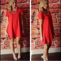 ✨HPx2✨ BOUTIQUE dress Cute red A line dress. Double chiffon back. Short sleeves. Purchased from @scanon, photo credit to her first 2 pics. Reselling because I just haven't worn it. New with tags. 55% cotton 45% polyester Boutique Dresses Mini