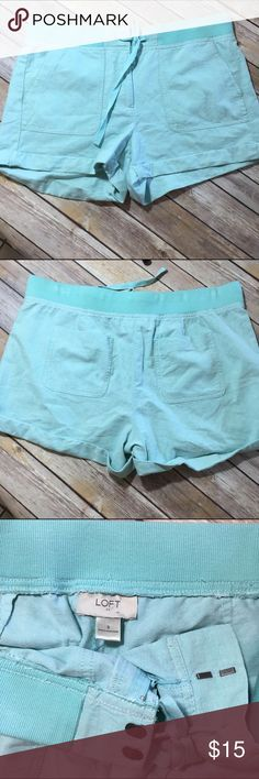 LOFT aqua sea glass spring summer shorts size 8 Beautiful color. Cotton spandex blend. Approximately 18 inches in width, 12.5 inches in length, with a 3 inch inseam. LOFT Shorts