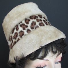 Vintage Hat Vera Whistler Leopard Faux Fur Bucket 1960s Italy