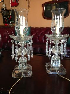 Elegant Antique Crystal Cut Glass Table Lamp With 10 Spear