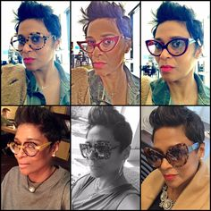 Pixie Cut Styles, Short Hair Styles, Pixie Cut Black Girl, Cute Short Natural Hairstyles, People With Glasses, Glasses Frames Trendy, Short Sassy Hair, Fashion Eye Glasses, 1 Place