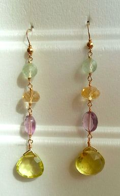 Lemon Quartz, amethyst, citrine and prehnite in Gold Filled