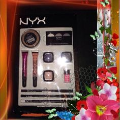 NYX makeup Brand New never been opened, GUILTY PLEASURES Let's get dolled up Ladies, with Brand New ! Loose face powder(Choc.) For sexy eyes only eye shadow(white pearl,silver,charcoal)sheer gloss(vintage,brilliant)glitter(hot pink)2 pencil eyes(white,Blk,) lip pencil(deep purple)3 eye shadows(midnite,morocco,, vanilla shimmer BEAT your Face NYX Accessories