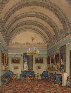 Interiors of the Winter Palace. The First Reserved Apartment. The Salon of Duke M. Leuchtenberg - Edward Petrovich Hau - Drawings, Prints and Painting from Hermitage Museum