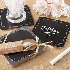 Write your names and wedding date on the front of these chalkboard coasters for a whimsical favor idea that will add a nostalgic touch to your reception. These adorable coaster favors can be ordered at http://myweddingreceptionideas.com/chalkboard_coasters.asp
