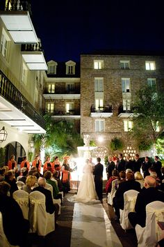 Moonlit wedding at the glamorous Maison Dupuy Hotel in New Orleans.
