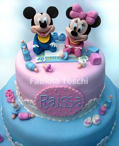 Bolo Baby Mickey e Baby Minie by Fabiola Toschi | Flickr - Photo Sharing!