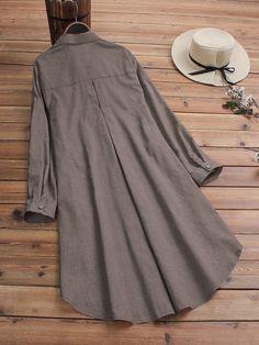 #Lapel #Button Casual Lapel Button Solid Color Long Sleeve Plus Size Long Blouse