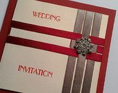 """Ruby"" Red Pocket Wedding Invitation with Diamante Cluster & Vintage Style Paper"