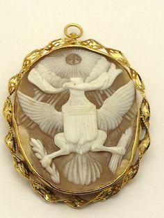 10k Gold EAGLE Cameo Pin / Pendant