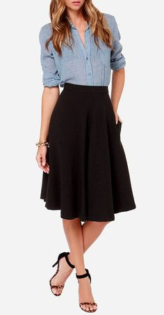 Finders Keepers Black Midi Skirt