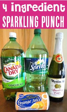 This easy Sparkling Party Punch Recipe is so simple to make. Just 4 ingredients and you've got a quick and delicious Party Punch! Orange Recipes, Fruit Recipes, Drink Recipes, Refreshing Drinks, Summer Drinks, Ginger Ale, Sparkling Punch, New Years Eve Drinks