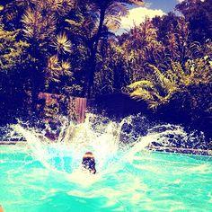 Summer is: a sneaky dip in the neighbors pool. Instagram: @wearehandsome