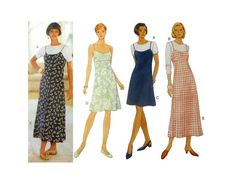 Slip Dress, Raised Waist Sundress, A-Line Jumper and Long or Short Sleeve Top Sewing Pattern Misses Size 6, 8, 10, 12 Uncut Butterick 3901