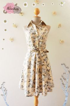 a9476380f28 Pale Brown Dress Tea Party Dress Floral Dress Floral Summer Dress Floral  Bridesmaid Dress Shirt Vintage Inspired Sundress -Size S