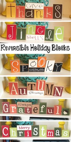These Reversible Holiday Blocks are so cute and save on storage space. Halloween… These Reversible Holiday Blocks are so cute and save on storage space. Thanksgiving Crafts, Thanksgiving Decorations, Fall Crafts, Holiday Crafts, Crafts To Make, Holiday Fun, Christmas Crafts, Diy Crafts, Diy Holiday Blocks
