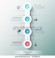 Modern infographics process template with 4 circle buttons, icons and text. Vector. Can be used for web design and workflow layout - stock vector