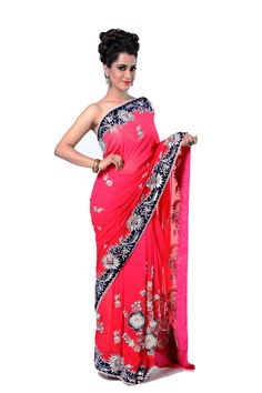 Ranas Woman Pure Georgette Shaded Coral Red Saree