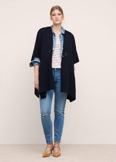 Wool-blend knit cape  -  Plus sizes | Violeta by MANGO Slovenia
