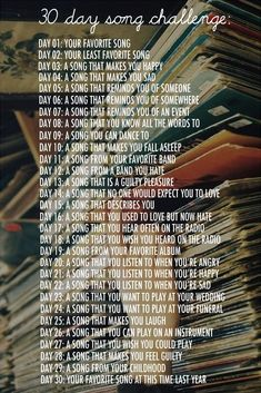 30 day song challenge-- going to turn it into a writing challenge. Could make a playlist of all these songs, one day at a time Music Challenge, 30 Day Song Challenge, Journal Challenge, Writing Challenge, Journal Prompts, Writing Prompts, Challenge Accepted, Journal Topics, April Challenge