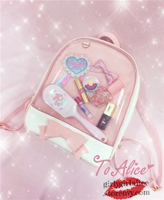 Cute Japanese Fashion Jelly Backpack on Girly Girl の To Alice.Kawaii Pink Transparent Jelly Backpack Cute Bow Schoolbag Ideal gift for your girl,lover and friend,and fo course yourselfs. Pastel Backpack, Diy Backpack, Jelly Bag, Pastel Goth Fashion, Kawaii Accessories, Cat Bag, Cute Backpacks, Clear Bags, Cute Bows