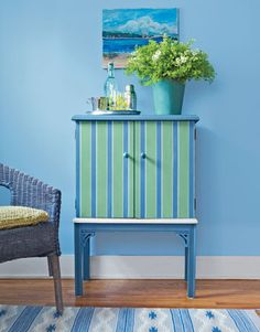An abandoned bar cabinet gets a stylish makeover with decorative paint.