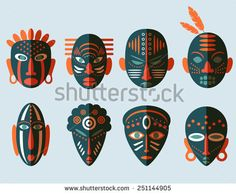 stock-vector-african-mask-icons-flat-design-tribal-ritual-symbols-251144905.jpg (450×370)