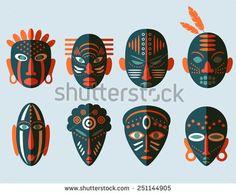 stock-vector-african-mask-icons-flat-design-tribal-ritual-symbols-251144905.jpg (450×370)