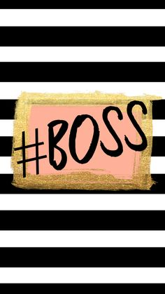 Black white stripes gold pink Boss iphone wallpaper background phone lock screen