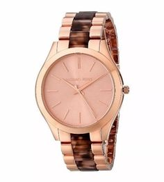 NWT Michael Kors Slim Runway MK4301 Womens Rose Gold Tone Tortoise Inlay Watch | eBay