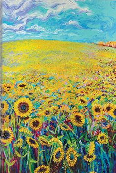 Iris Scott Sunflower Triptych Panel I