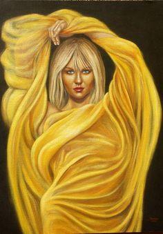 Mujer con Velo amarillo