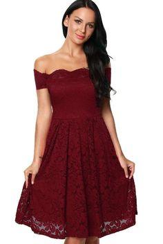 Scalloped Off Shoulder Flare Plus Size Burgundy Lace Dress