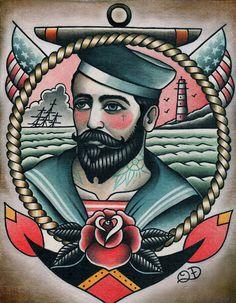 Seemann jerry Mädchen Tattoos