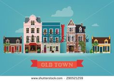 Lovely detailed vector old town village main street illustration with retro victorian style building facades