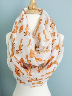 Cute orange fox Infinity Scarf with pretty gift box white