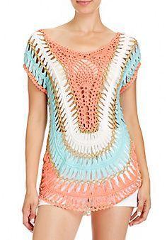 Multi Collar Crochet Tunic - Inspiracion. ༺✿ƬⱤღ https://www.pinterest.com/teretegui/✿༻