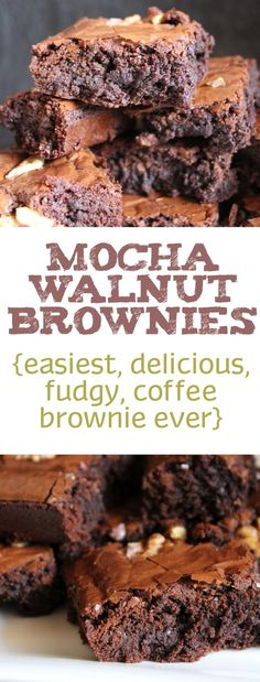 Mocha Walnut Brownie | Fudgy Coffee Brownie Kinds Of Desserts, Sweet Desserts, No Bake Desserts, Walnut Brownie Recipe, Brownie Recipes, Cake Recipes, Coffee Brownies, Fudgy Brownies, Good Food