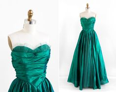 vintage 1950s gown / 50s dress / Emerald Green Taffeta Ball Gown on Etsy, $224.00