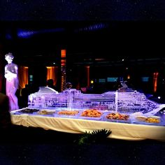 We made a 10 foot long cruise ship ice sculpture and needless to say icebergs were not a problem.