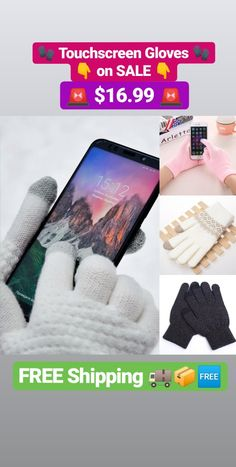 Comfortable Cotton Touchscreen Gloves 🧤👉📲  Perfect for You When it's Freezing but Still don't want to Call so You Keep Texting ❄📱  A Perfect Gift 🎁😄  Soft, Comfortable and Warm Keeping ✅☕