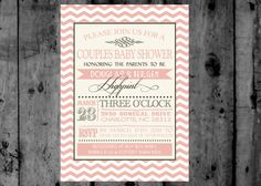 Vintage Pink and Grey Chevron Couples Baby Shower or Bridal Shower Printable Invitation