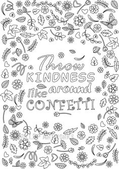 Printable Throw Kindness Around Like Confetti Coloring Page For