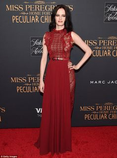 Ravishing in red: Eva Green looked fantasticas she attended the New York premiere of Miss...